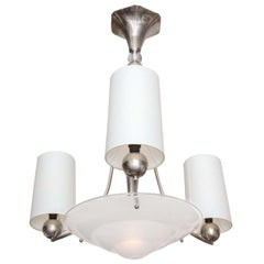 Ceiling Fixture Art Deco polished nickel and frosted glass German 1920's