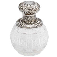 Sterling Silver-Mounted Cut Crystal Perfume Bottle