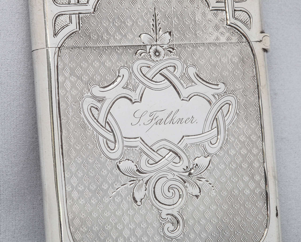 19th Century American Coin Silver Calling Card Case For Sale