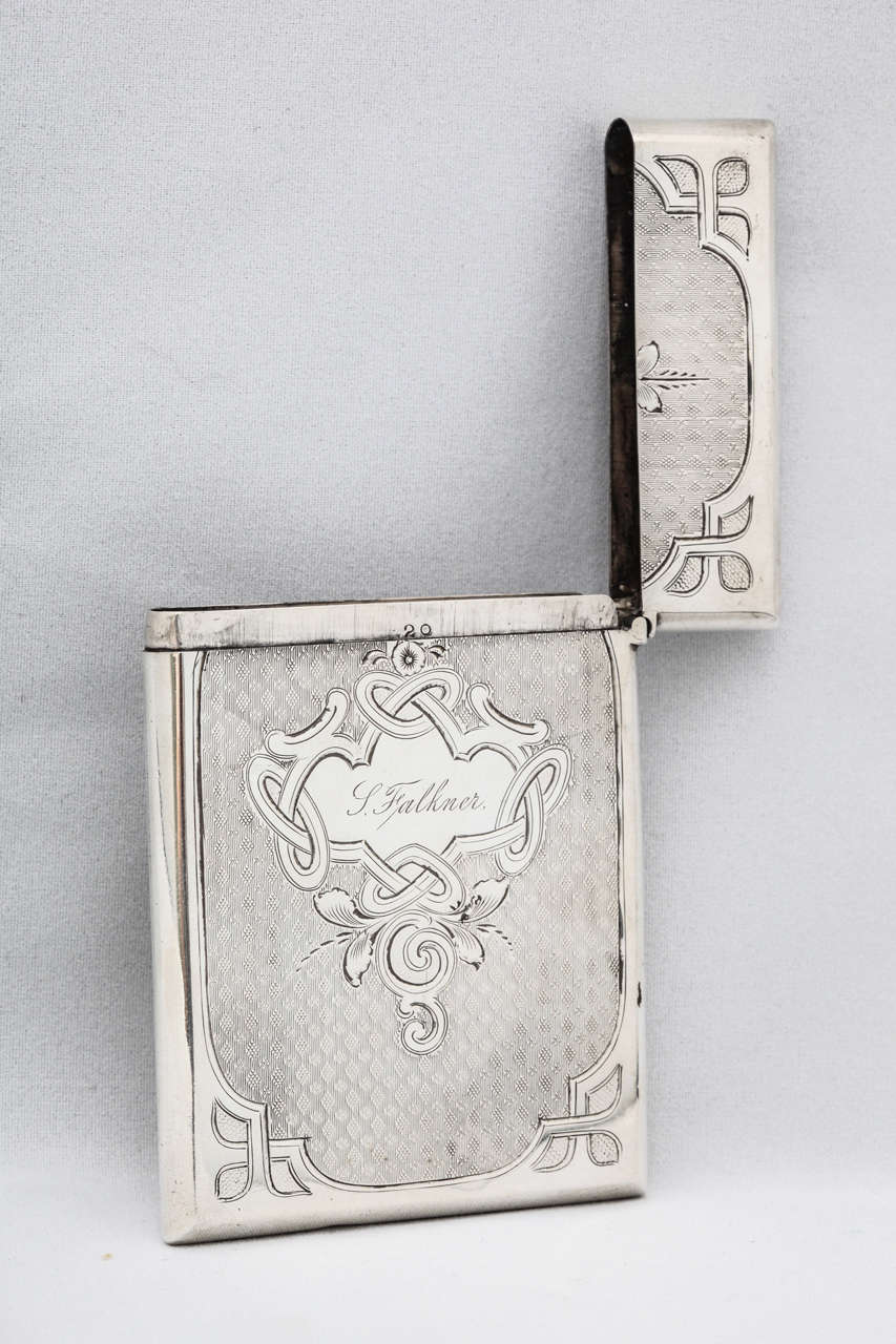 American Coin Silver Calling Card Case For Sale 1