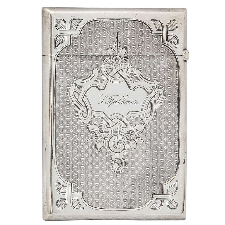 American Coin Silver Calling Card Case For Sale