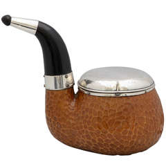 Unusual, Large, Continental Silver (.800) -Mounted Wood Pipe-Form Humidor