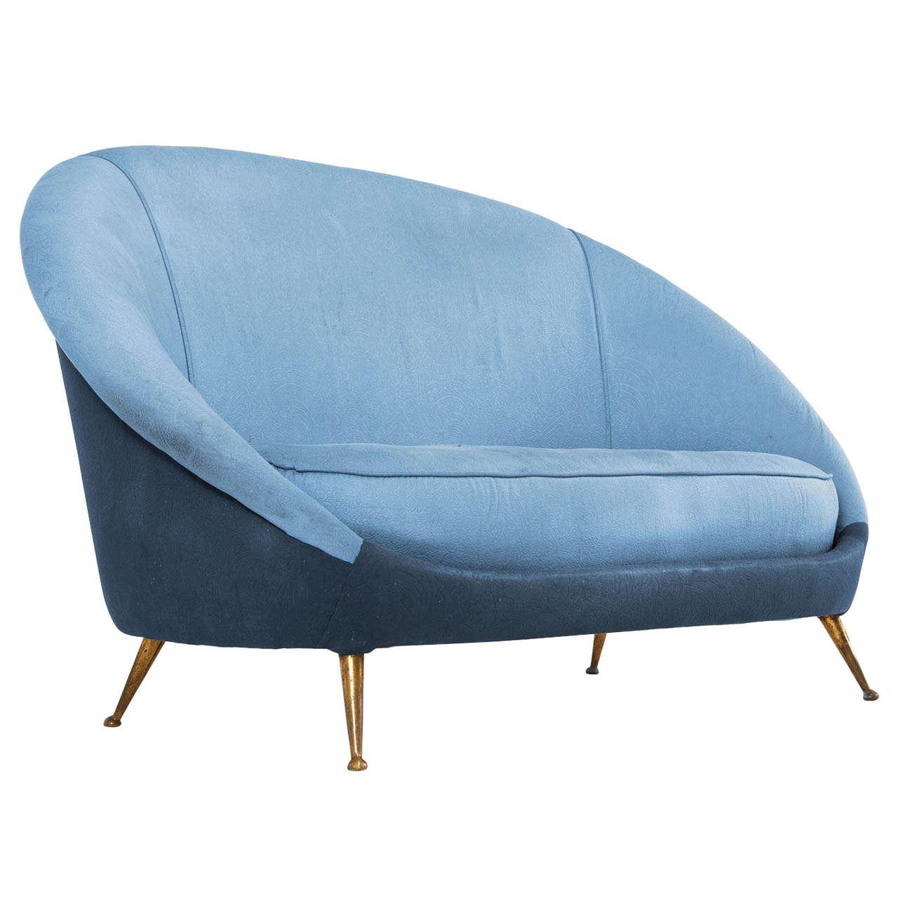 Charming Italian Duo Tone Two Seat Sofa With Brass Legs