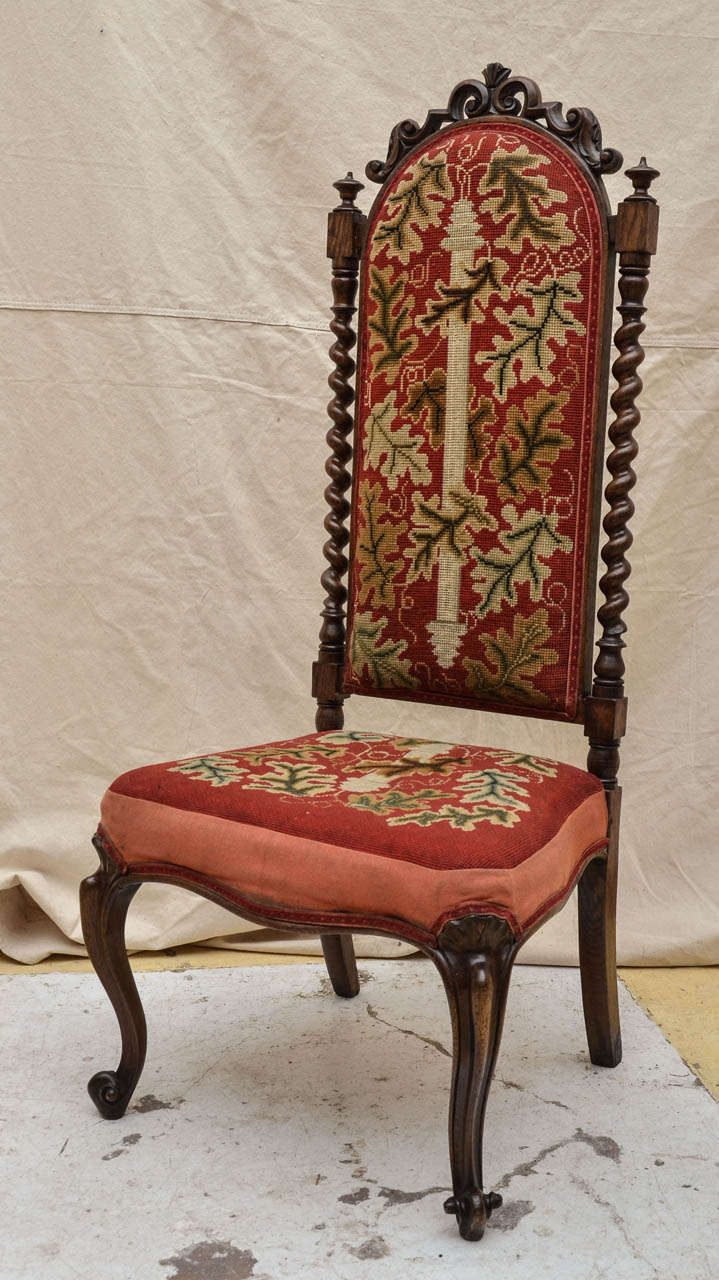 19th Century English Oak Tall Back Needlepoint Covered Accent Chair With  Barley Twist Spindles