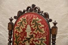 19th Century English Oak Tall Back Needlepoint Covered