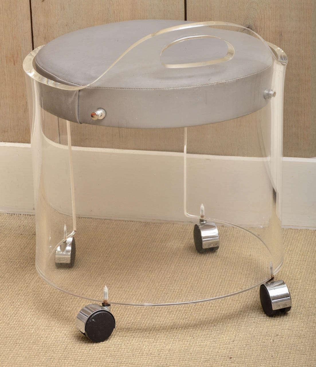 Charles hollis jones vintage lucite vanity stool on - Bathroom vanity chair with casters ...