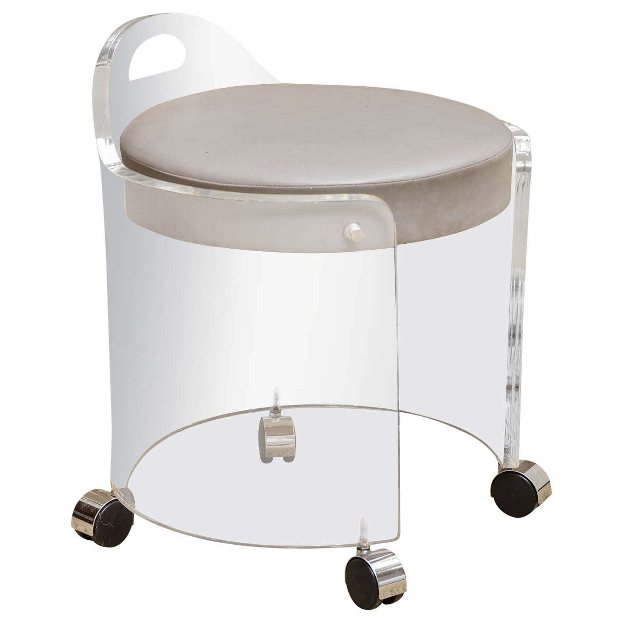Charles Hollis Jones Vintage Lucite Vanity Stool On