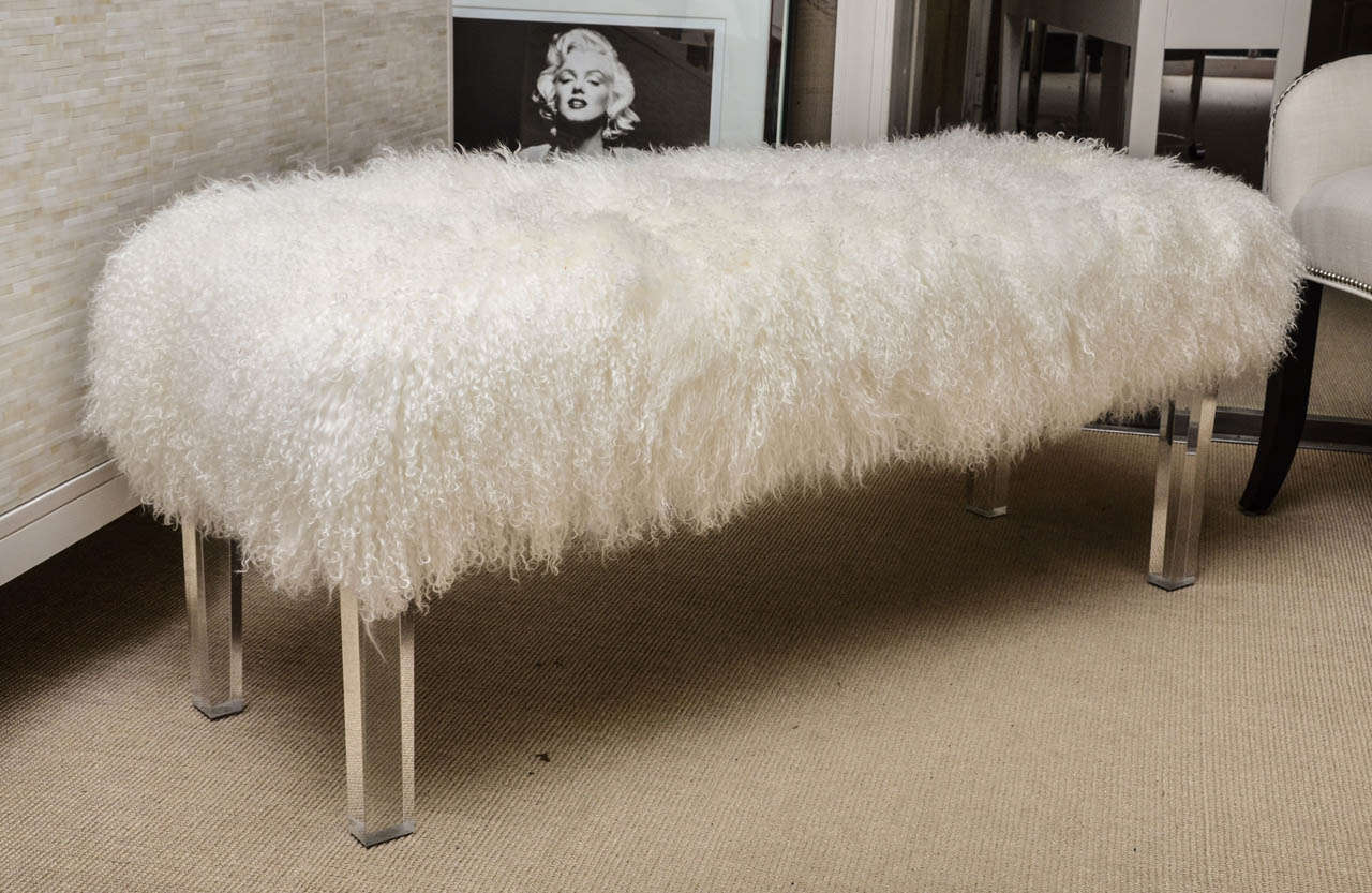 tibetan lamb bench on lucite legs for sale at 1stdibs. Black Bedroom Furniture Sets. Home Design Ideas