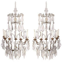 Pair of 19th century Continental Seven Branch Cut-Glass Wall Lights