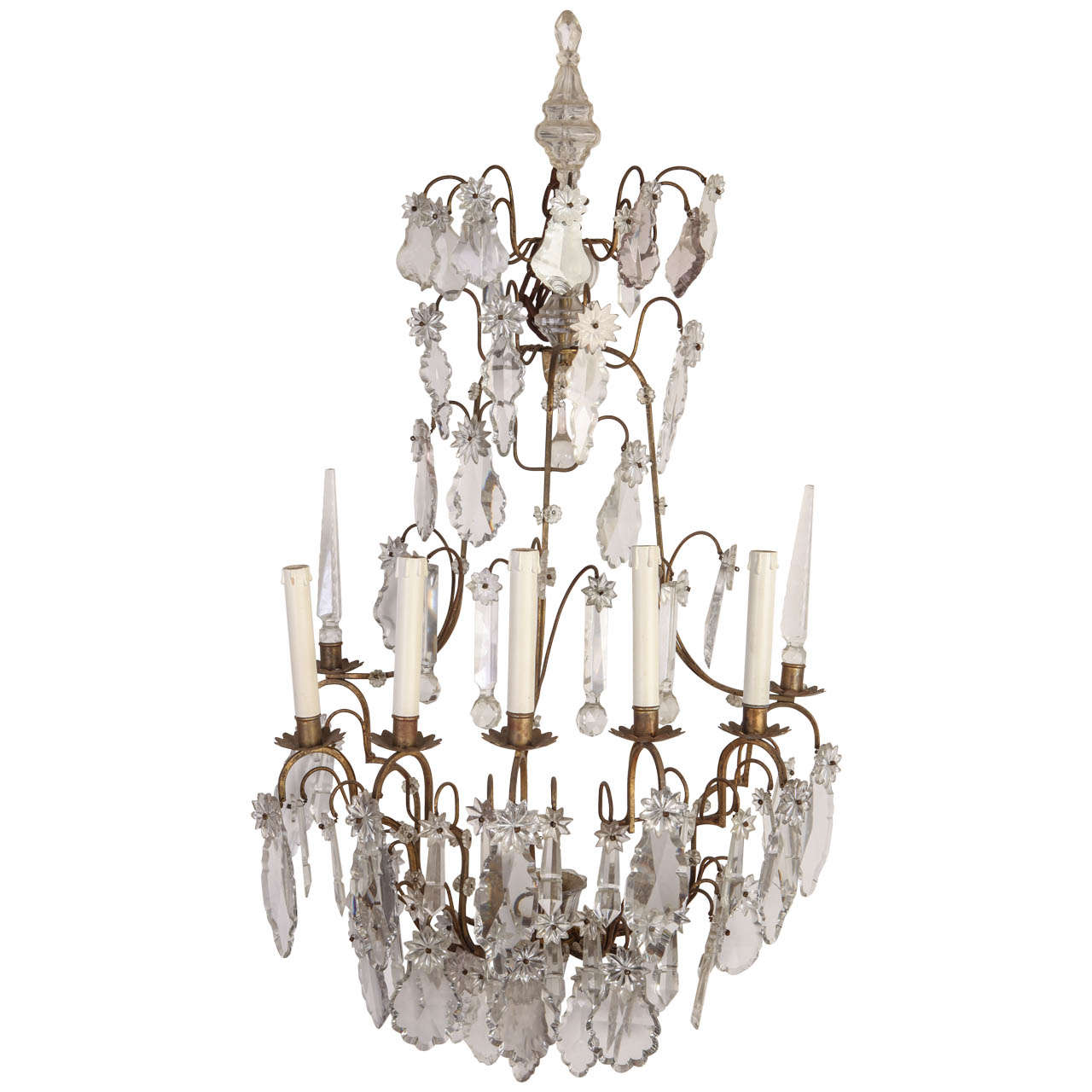 Fine Continental Five Branch Cut-Glass Wall Lights For Sale at 1stdibs