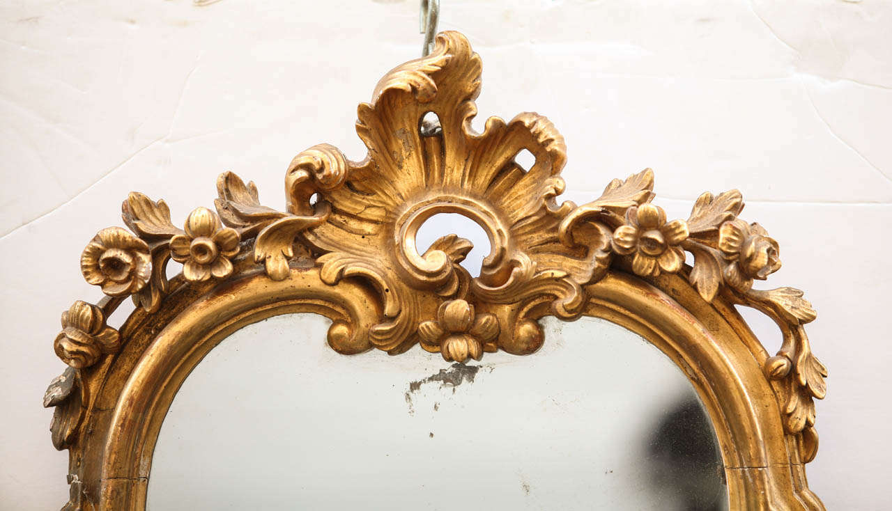 A fine set of Four 18' century Roman   giltwood Mirrors  with  three candlearms,  cm 95x45