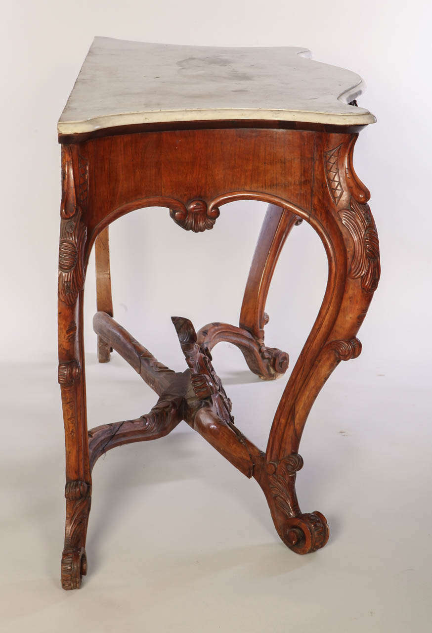 Italian 19th Century Carved Walnut Console Table With