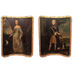 Pair of 17th c. English Oil on Canvas Portraits