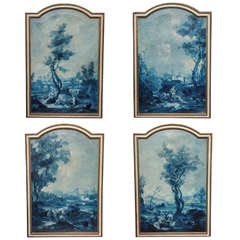 Set of Four Grisaille d'azure Oil on canvas