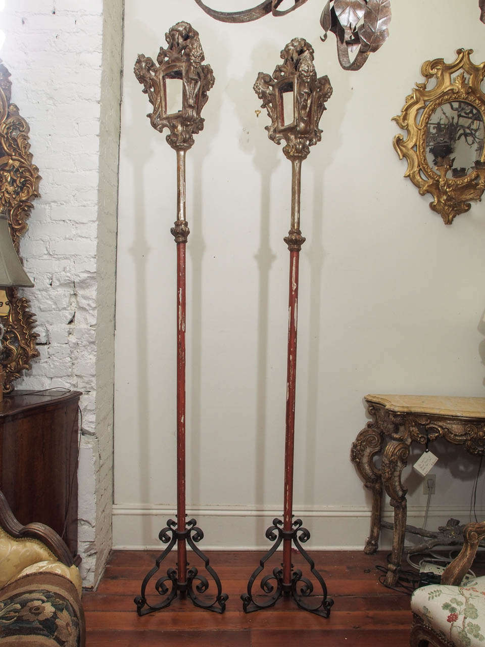 Pair of 19th c. Processional Pole Lanterns in Iron Stands. This pair is silver gilt. They are three sided with removable iron stands.