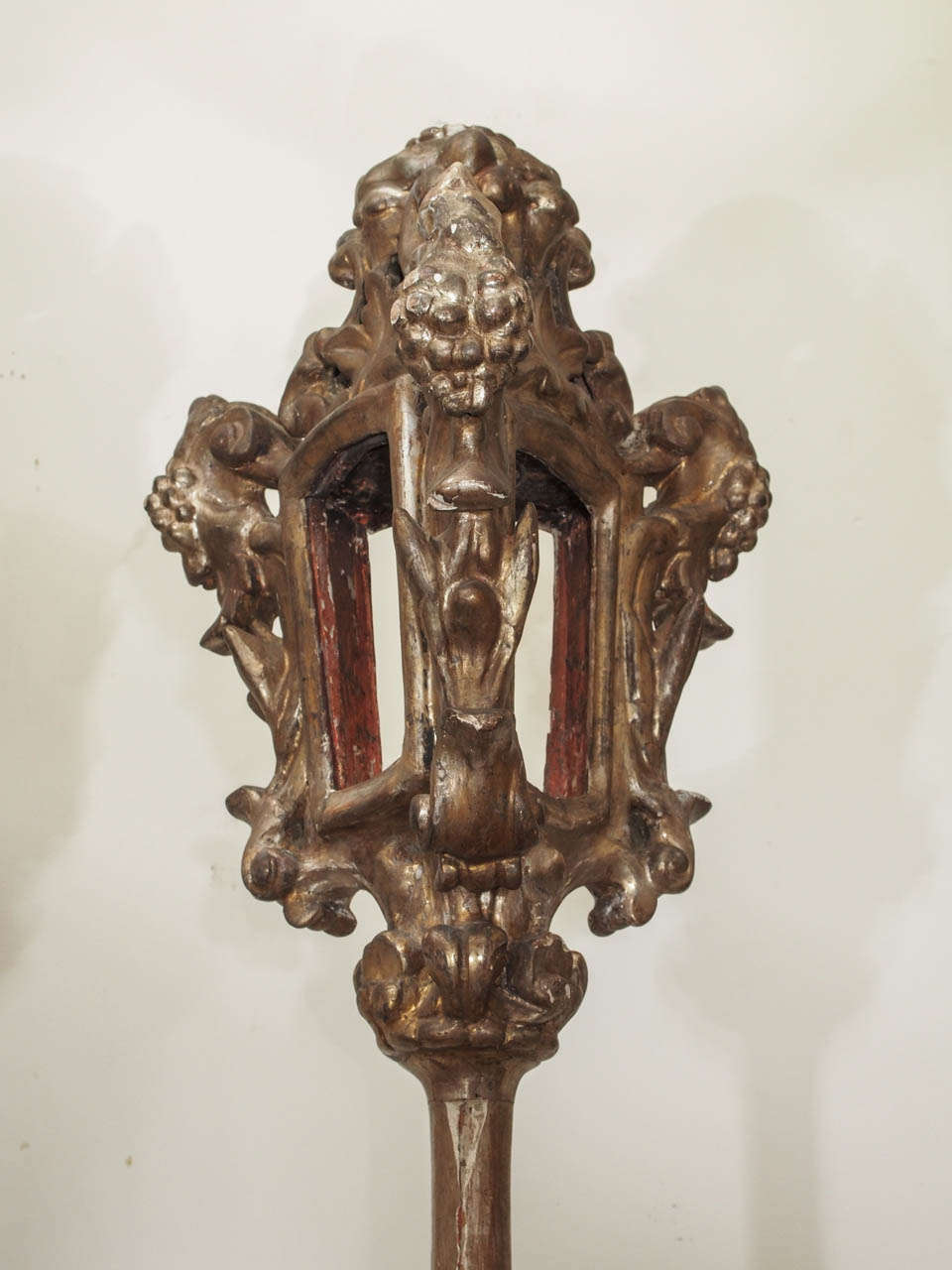 Carved Pair of Italian Processional Pole Lanterns For Sale