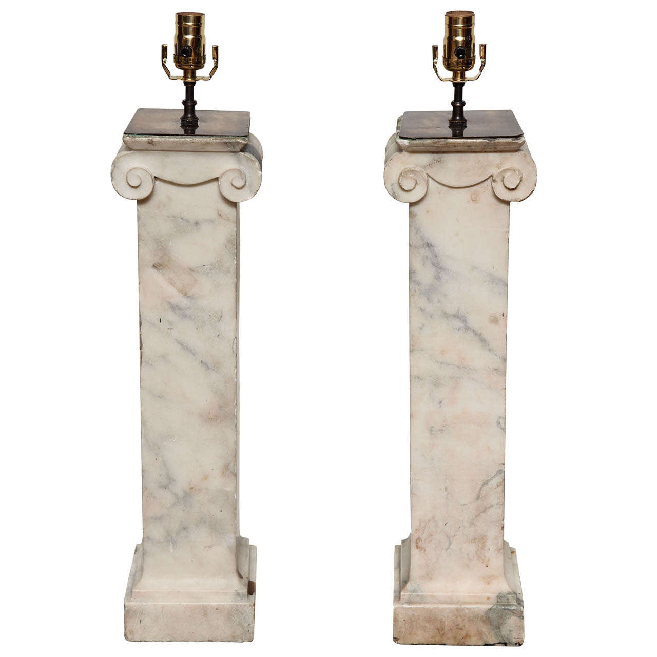 Pair of Square Ionic Columns Converted to Lamps, English Style