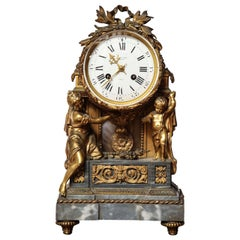 19th Century French, Bronze and Marble Clock