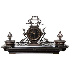 19th Century Napoleon III, Bronze and Marble Clock, Desk Accessory