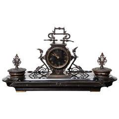 19th Century Napoleon III, Bronze and Marble Clock, Desk Accessory
