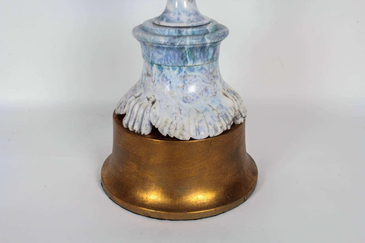 Hollywood Regency Monumental Carved Violet Veined Marble Lamp For Sale