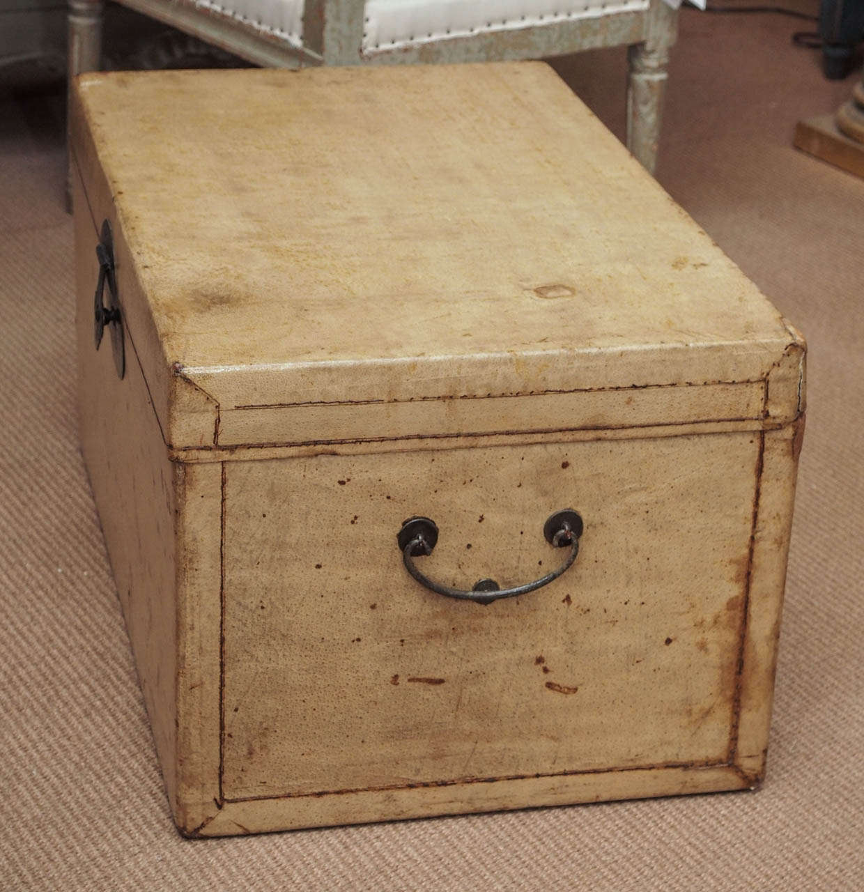 Late 19th Century Chinese Parchment Trunk For Sale 2