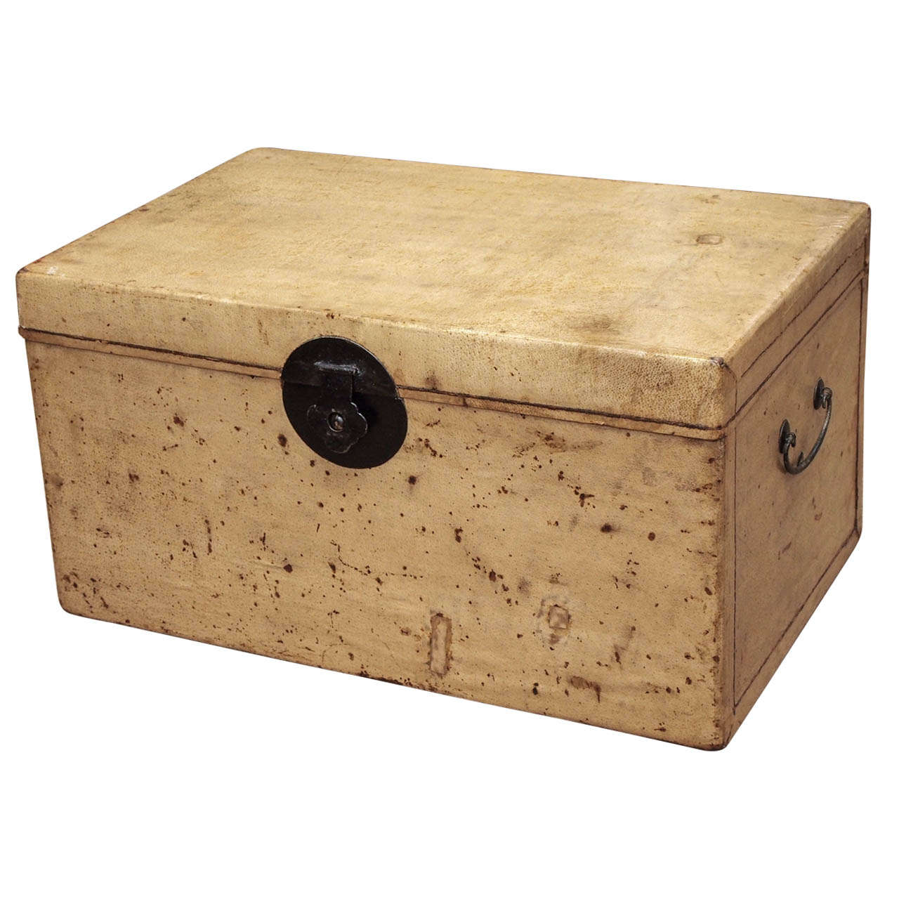 Late 19th Century Chinese Parchment Trunk For Sale