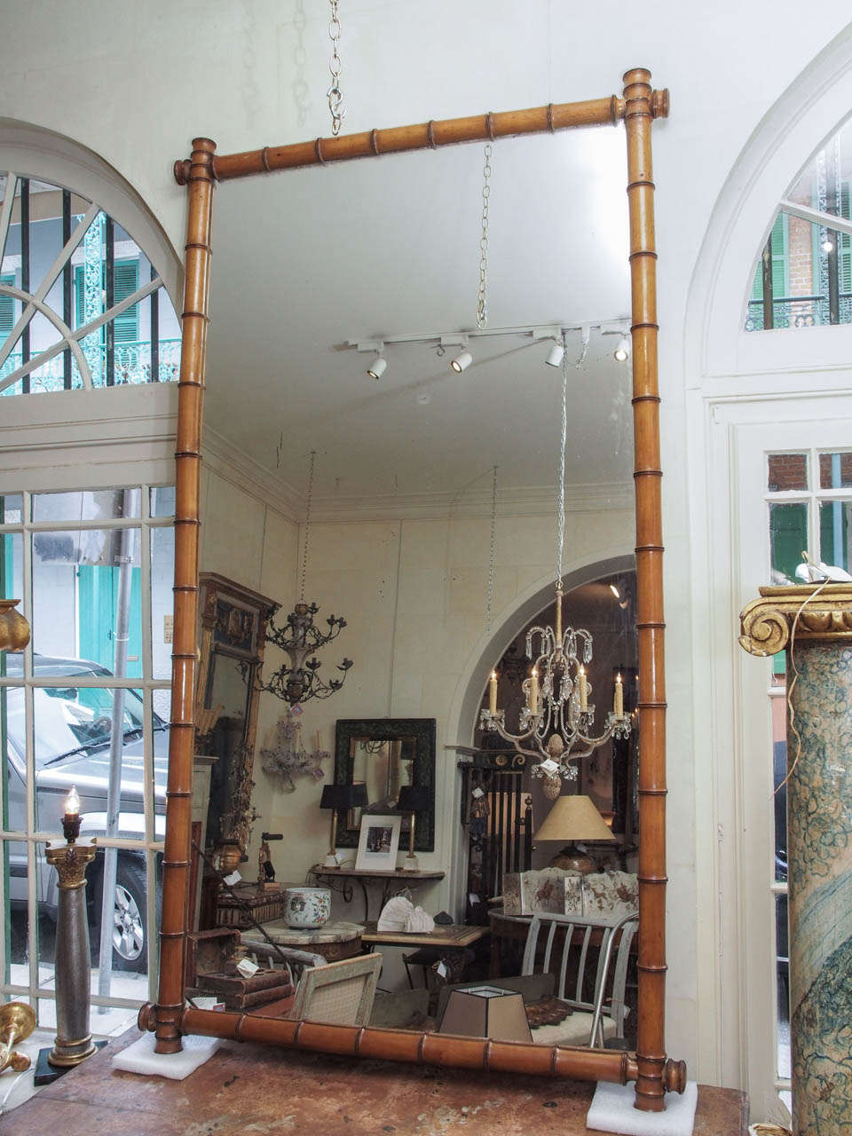 An elegant, large bamboo mirror from France.