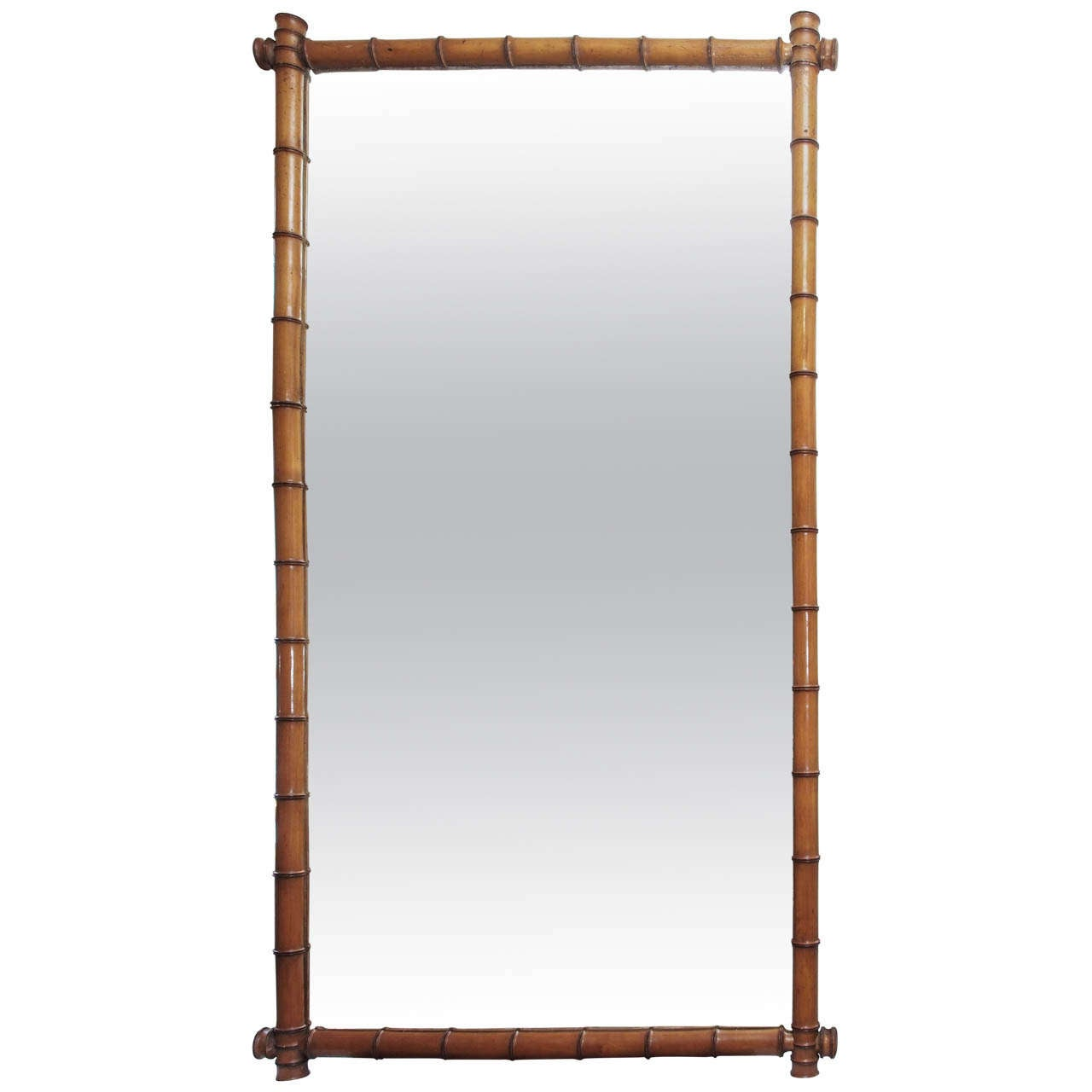 1950s Large Bamboo Mirror For Sale