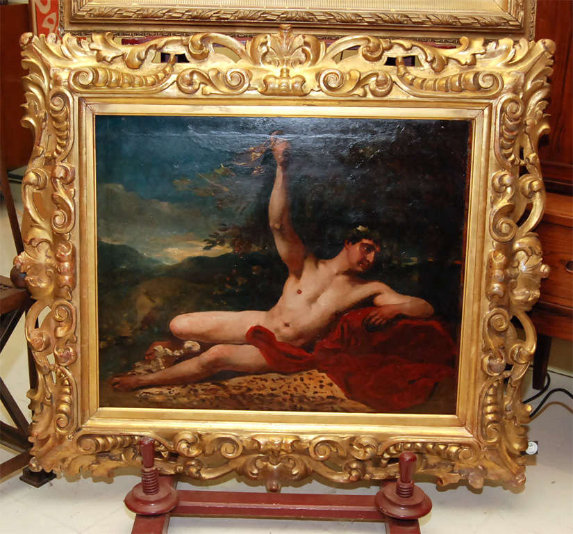 Oil on canvas depicting Bacchus, European, in heavy gilt-wood frame, unsigned.  <br />