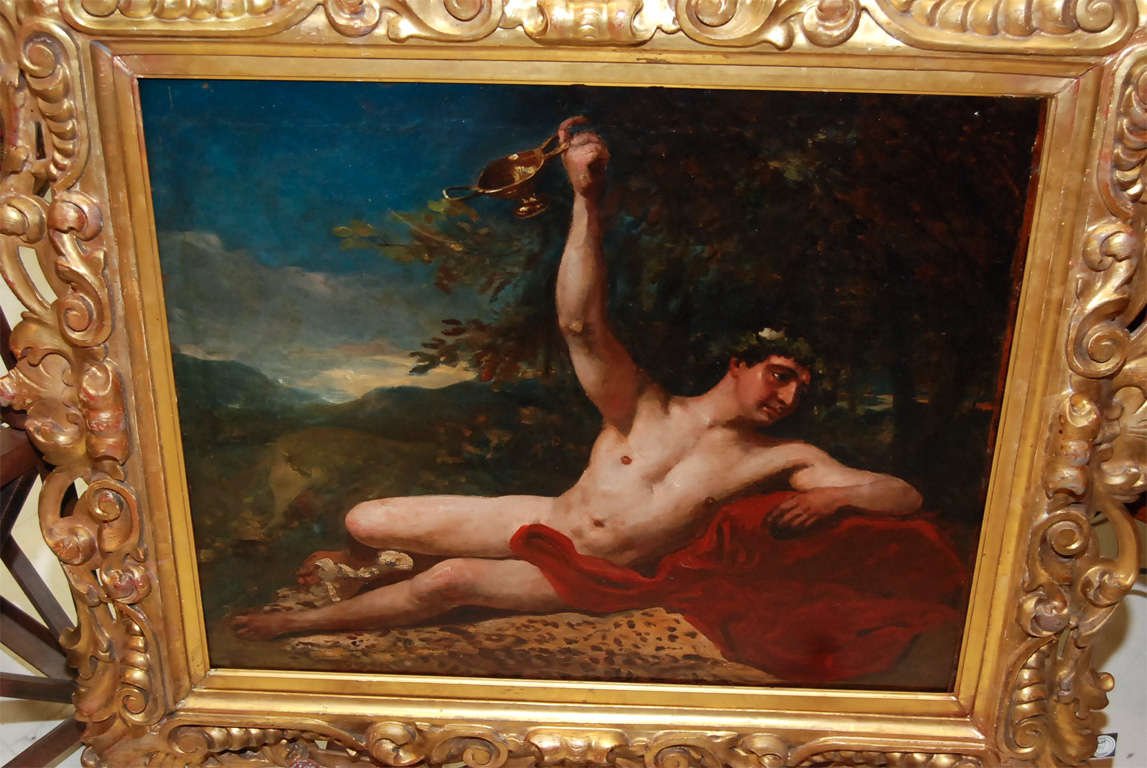 19th Century Bacchus 19th C Painting For Sale