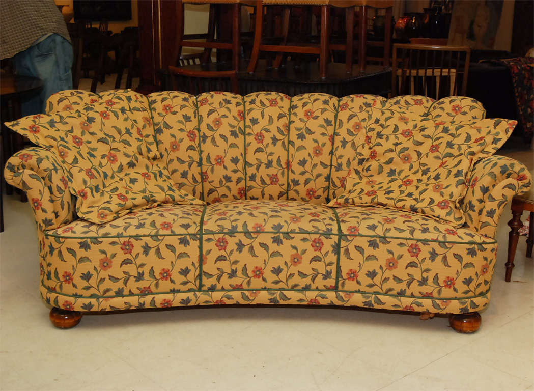 Swedish Sofa, Floral Fabric In Pale Yellow Background, Channelled  Upholstery And Bun Feet,