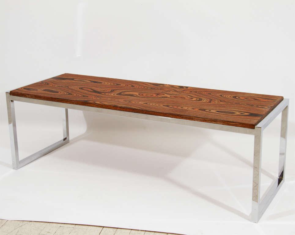 Beautiful Exotic Wood Topped Coffee Table Or Bench With Simple Chrome Base The Grain Is