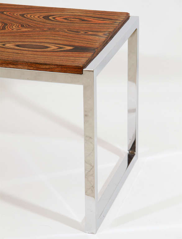 chrome exotic wood coffee table or bench at 1stdibs