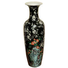Antique Tall Baluster Famille Noire Vase, Chinese, Late 19th Century