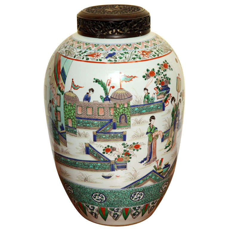 Large Antique Famille Verte Ovoid Jar, 20th Century