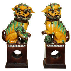 Antique large pair of porcelain foo dogs, Chinese c,1900