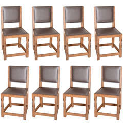 Set of Eight Mouseman Dining Chairs