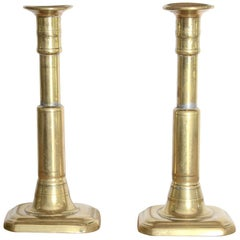 Pair of Polished Brass Candlesticks with Rectangular Base