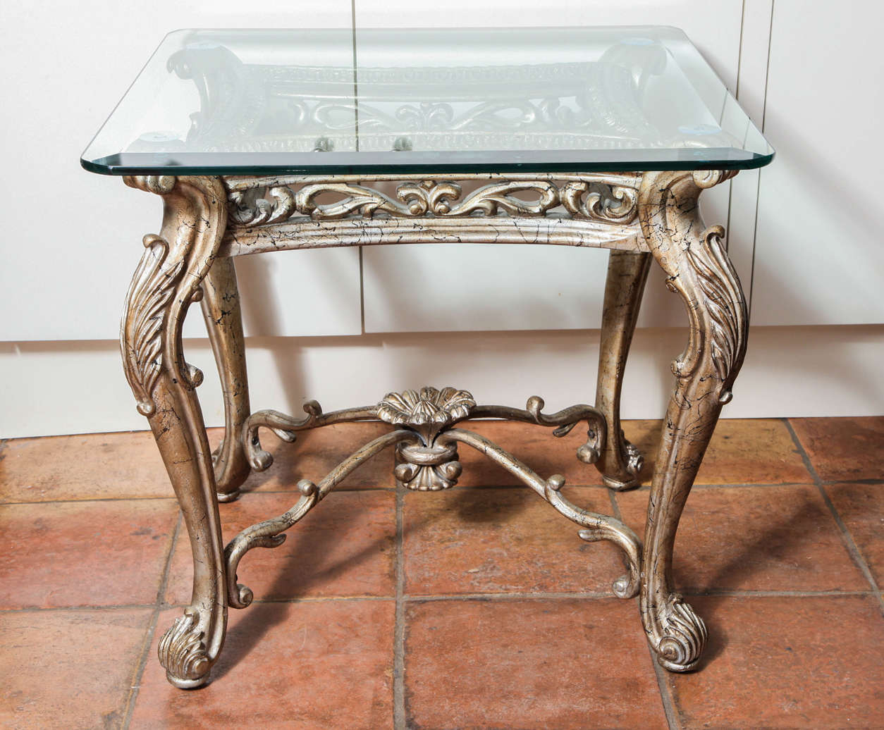 Iron Side Table ~ Antique italian rococo gilt silver iron square side table
