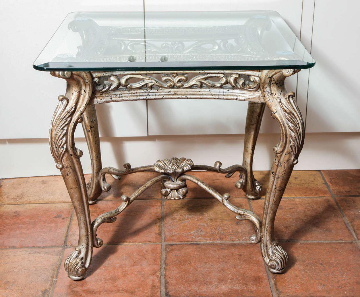 Antique square side table - Antique Italian Rococo Gilt Silver Iron Square Side Table 2