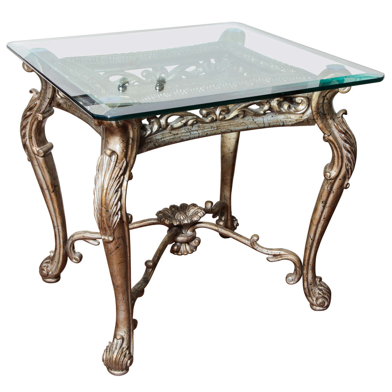 Antique Italian Rococo Gilt Silver Iron Square Side Table At Stdibs - Rococo side table