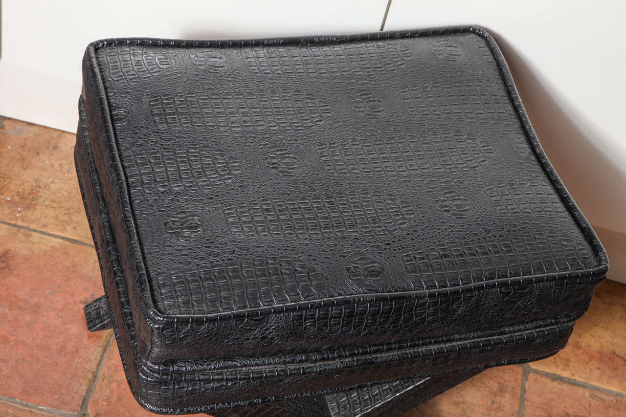 Modern 1970s English Black Faux Crocodile Leather X Ottoman For Sale