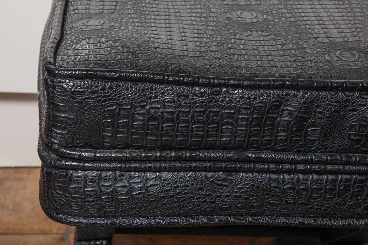 Late 20th Century 1970s English Black Faux Crocodile Leather X Ottoman For Sale