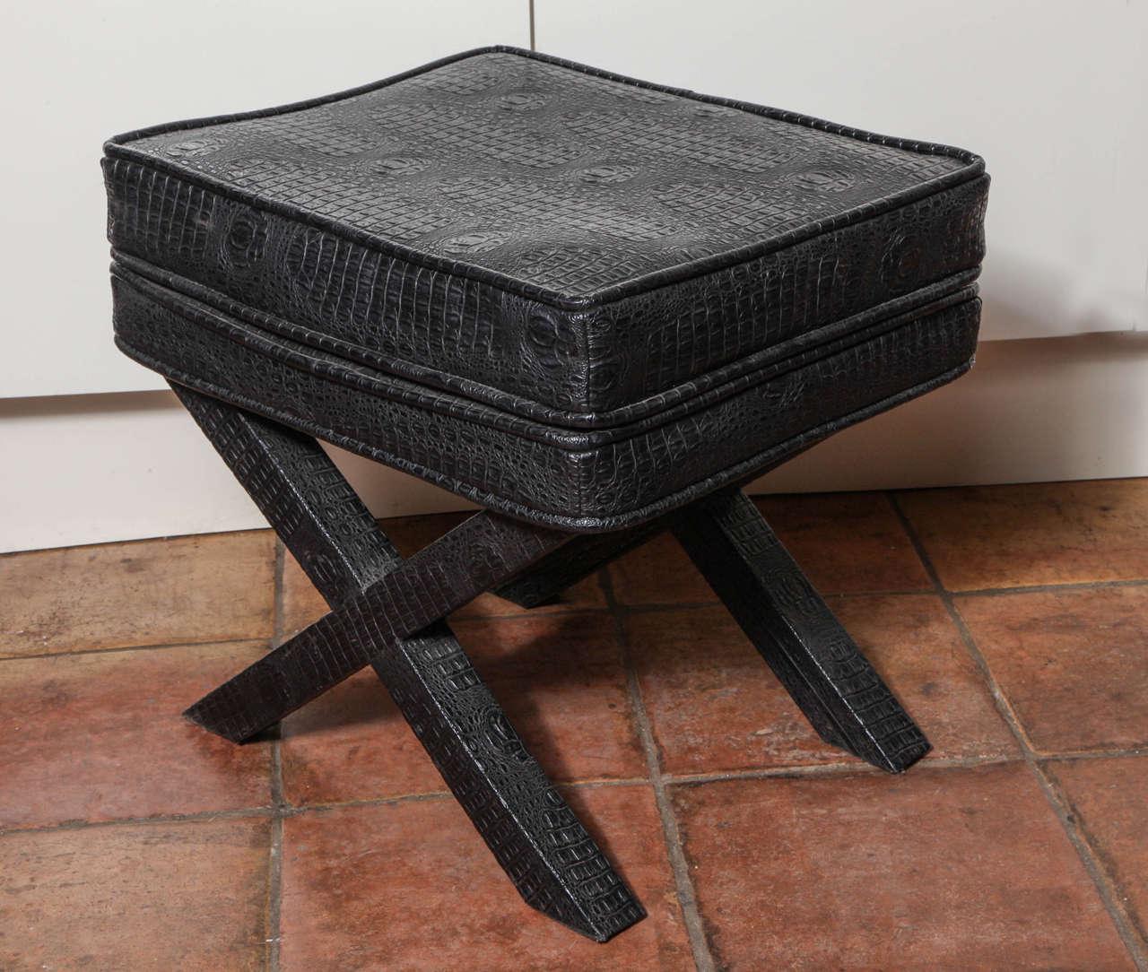 1970s English Black Faux Crocodile Leather X Ottoman For Sale 1