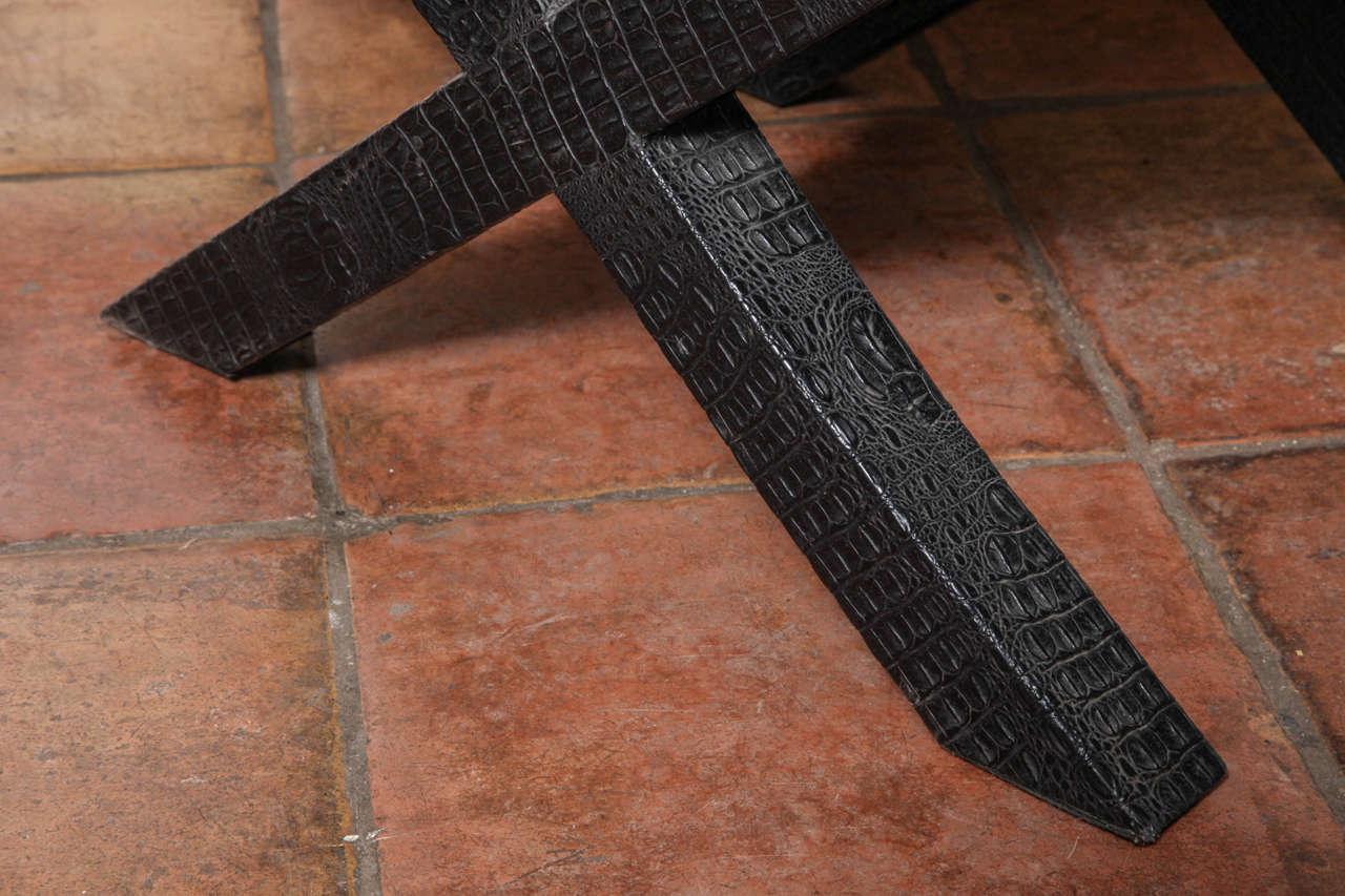 1970s English Black Faux Crocodile Leather X Ottoman For Sale 2
