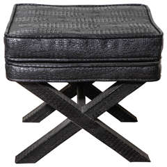 1970s English Black Faux Crocodile Leather X Ottoman