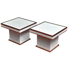A Pair of Brass-Mounted Square White Plexi/Lacquer Tables