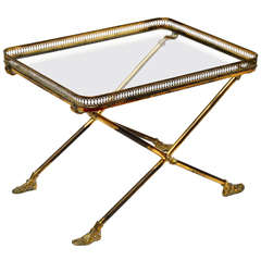 "Brass and Glass Hand and Foot ""X"" Form Side Table"