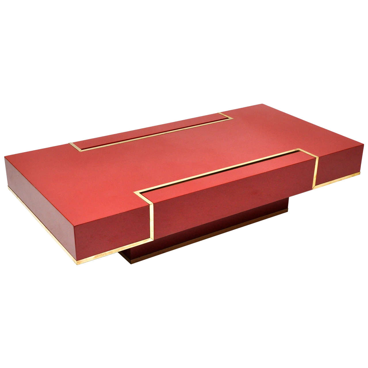 Rare Maison Jansen Red Lacquer Coffee Table At 1stdibs